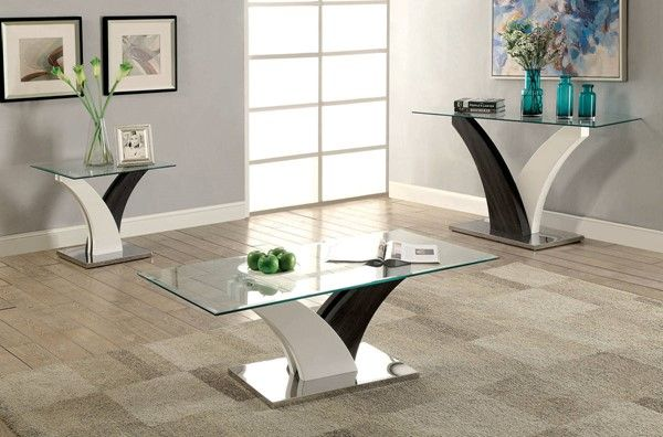 Sloane Contemporary White Dark Gray Stainless Steel Glass Coffee Table
