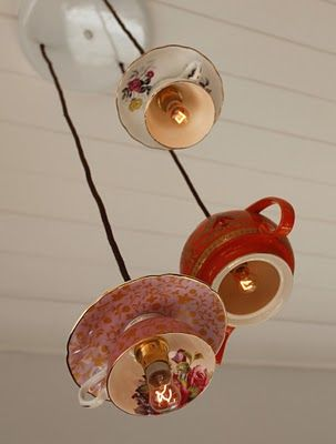 Tea cup and saucers repurposed as lights
