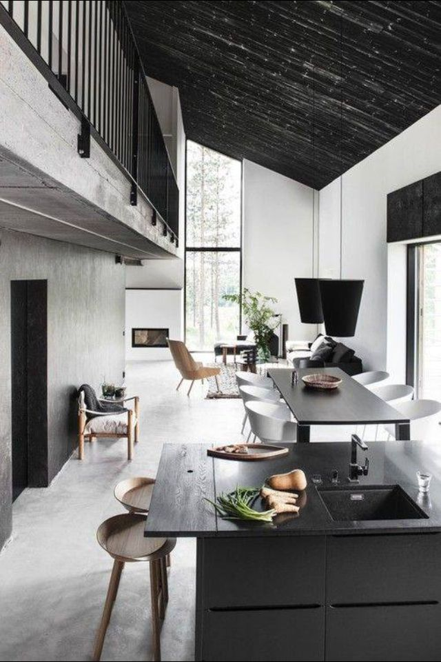 Black & white with a slanted ceiling. It makes such a cool vibe. RCS Construction