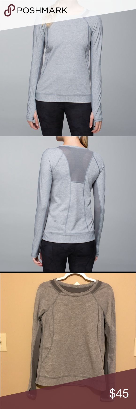 "Lululemon Run for Gold Long Sleeve Top Size 8 GUC Lululemon Run for Gold Long Sleeve top in grey. Luxtreme. Has thumb holes and mesh details around the collar, back, and arms for ventilation. There is reflective ruffle trim around the arms and on the back as well as a small hidden back pocket. Still in great used condition with minimal signs of wear. All tags have been removed but there is a size dot in the pocket to verify it is a size 8.  Approx measurements: Bust 34"" Length: 25"" Waist…"