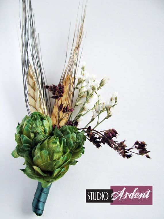 Hops and wheat boutonniere for the beer-loving groom or groomsmen who likes their libations!