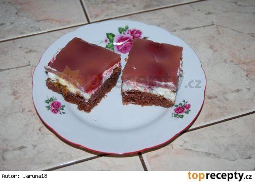Kefírová buchta s náplni 350 g polohrubé mouky 100 g cukr krupice 1 vanilkový cukr 1 prášek do perníku 1 hrneček oleje /asi 200ml/ 1-2 lžíce kakaa 1 vejce 1/2 litru kefíru  Náplň: 1 smetana ke šlehání 1 tvaroh 1 pomazánkové máslo (můžou být i 2) asi 100 g moučkového cukru (podle chuti) jahody kompot (já měla 2 plechovky)  Poleva: 3/4 litru šťávy z jahod (nebo vodu se šťávou) 2 sáčky pudinku (jahodový nebo vanilkový) cukr (podle chuti)