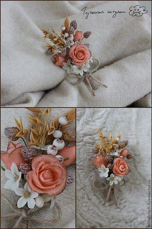 Купить Брошка из холодного фарфора в стиле кантри :-) - кремовый, розовый, бежевый, розы