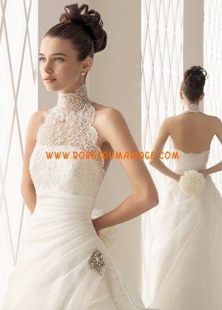Aire Barcelona belle robe de mariée longue glamour empire ornée de gradins col montant organza