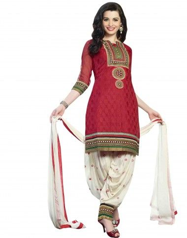 Maroon Coloured #Unstitch Patiala Salwar Suit having attractive #Embroidered work on Pure Cotton #Jacquard #febric