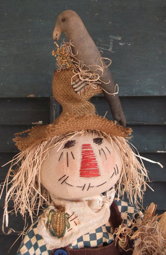 Primitive Scarecrow Doll Crow and Corn  Folk by BackwoodsSpirit, $38.95