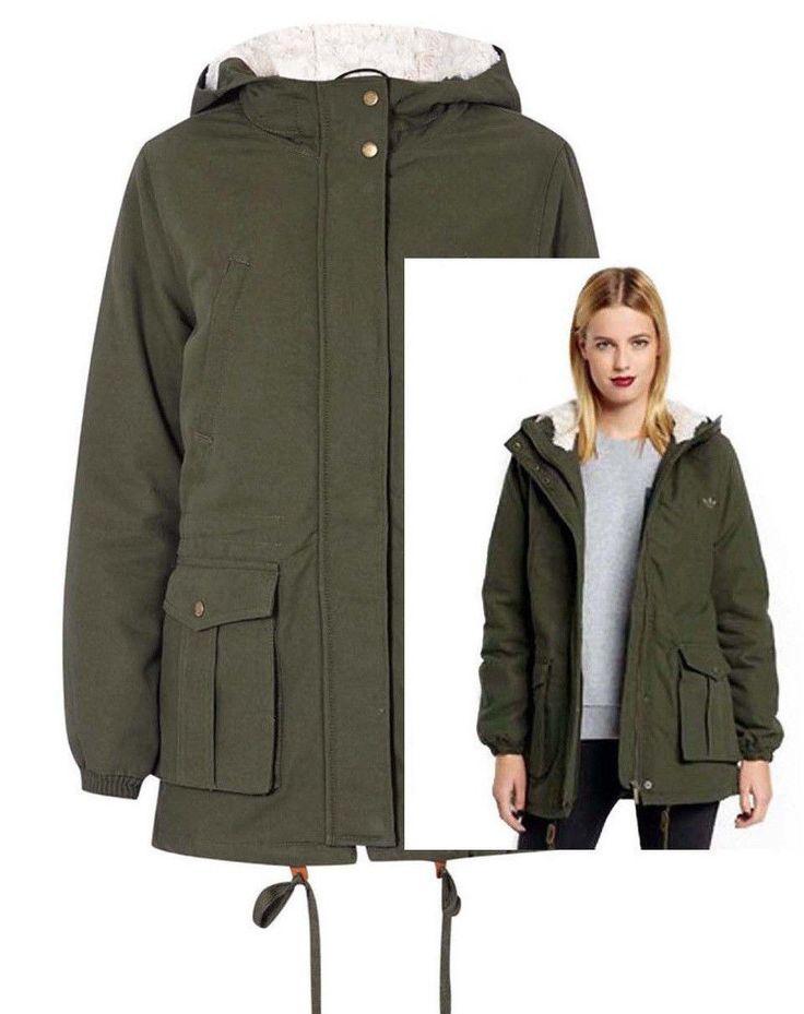 Adidas Originals  Parka Teddyfutter Kapuze Damen Winterjacke Khaki Neu Gr.40 in Kleidung & Accessoires, Damenmode, Jacken & Mäntel | eBay!