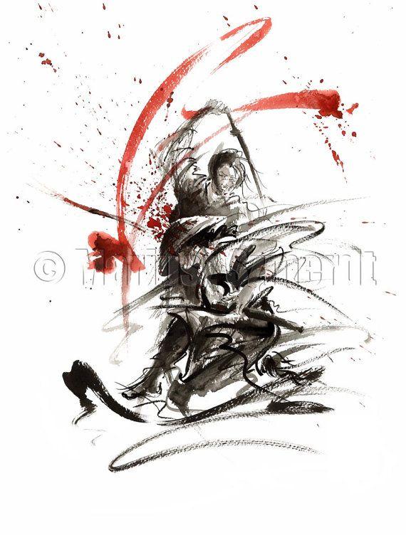 SAMURAI Red Battle Warrior Sword Katana Wakizashi by Asianature, $30.00