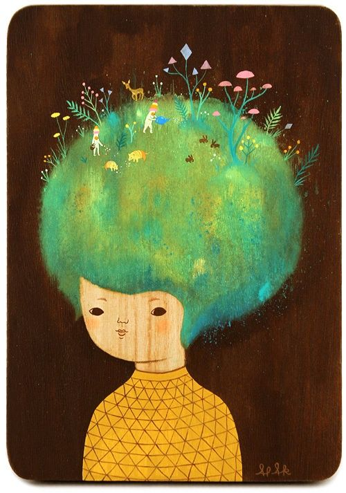 ~Pikaland....japanese ,surreal,abstract watercolour print...the girl with flowers in her hair