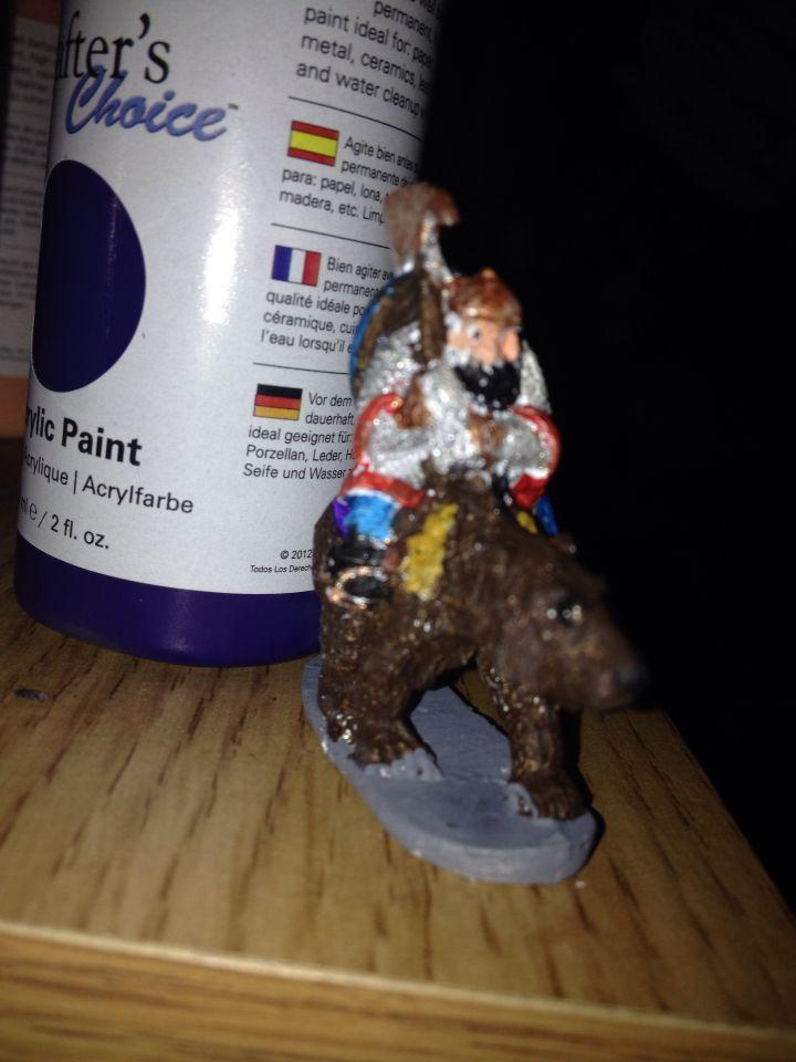Dwarf on bear.