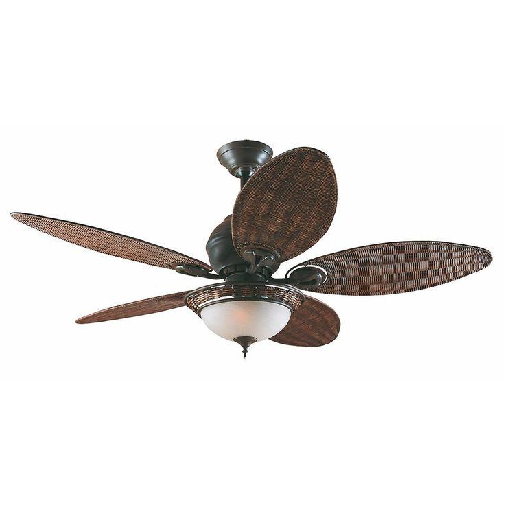 Ventilador de teto Caribbean Breeza pull chain (corrente), 5 pás, 110V, para 2 lâmpadas,  Medidas: Diam 137cm,  Material: Metal e vime,  Cor: Preto e bronze,  Marca: Hunter