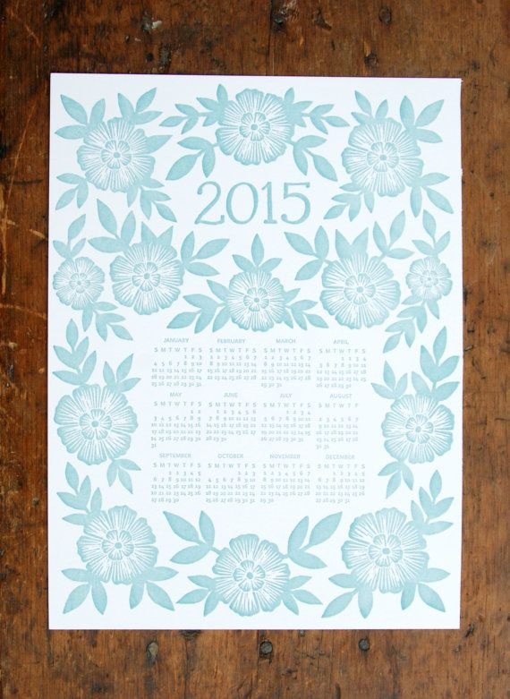 This letterpress calendar features a hand-carved block print design, that is then transferred to a printing plate and letterpress printed in