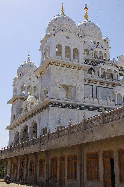 Pushkar Gurdwara near Ajmer, Rajasthan, India. It's beautiful in marble, dedicated to Guru Gobind Singh, who visited Pushkar in 1706 is Gobind Ghat, Its on the lake.