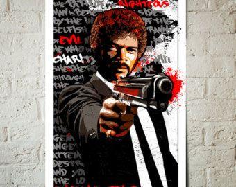 Pulp Fiction - Jules Winnfield - Samuel L Jackson, Fan Art, Poster, Art Print, popart illustratie, Pulp Fiction Poster, Quentin Tarantino