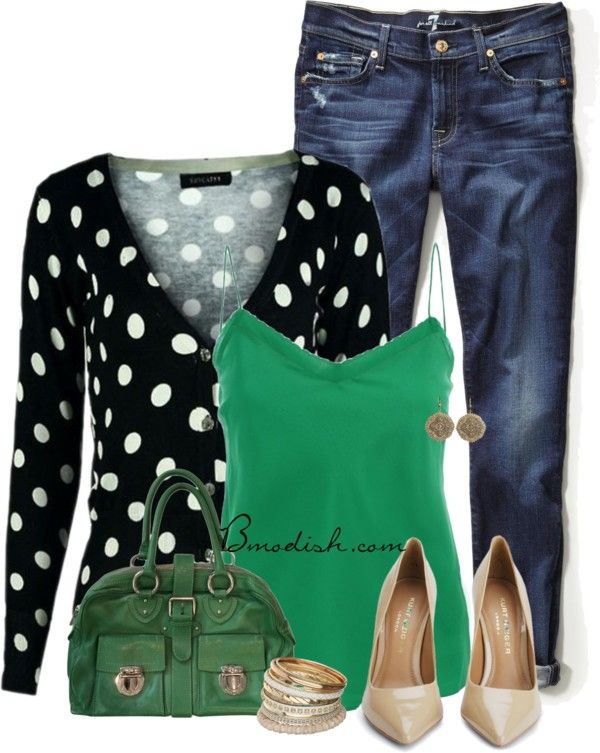 Green cami top polka dot cardigan spring outfit