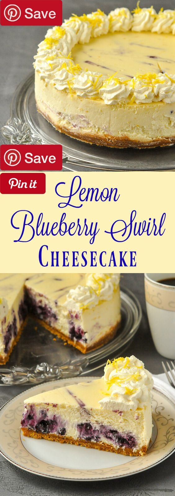 Lemon Blueberry Swirl Cheesecake - two extremely complimentary flavours come together deliciously when a blueberry compote gets swirled Ingredients Vegetarian Produce 1 cups Blueberries fresh or frozen 2 Lemons Zest of Refrigerated 3 Eggs Baking & Spices 3 Rounded tsp icing sugar 1 Slightly rounded tbsp corn starch 1 cup Sugar 1 tsp Vanilla extract 1 tsp Vanilla extract pure Snacks 1 1/3 cups Graham cracker crumbs Dairy 1/3 cup Butter 1 3 eight ounce packages ounces Cream...