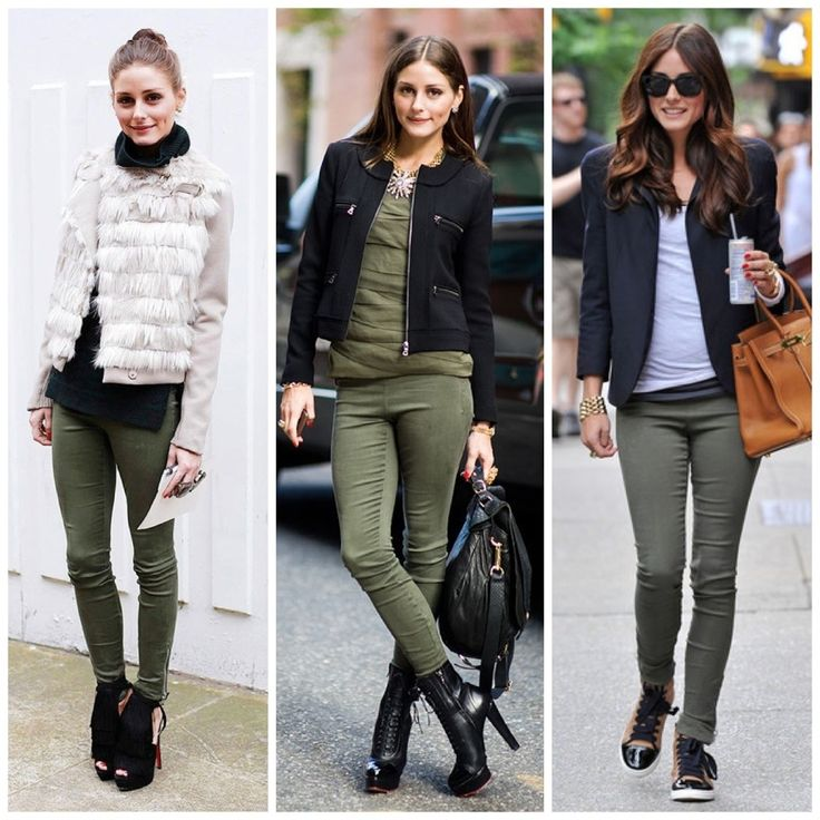 Olivia Palermo knows very well how to wear khaki pants. Love her style.