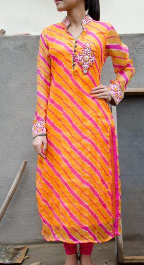 Orange & Pink Leheriya Kota Silk Tunic #Vasansi