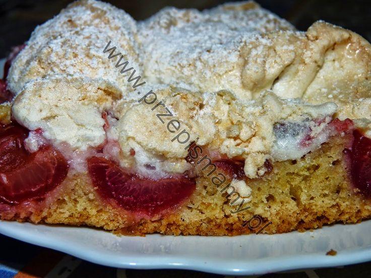 www.przepismamy.pl: Kruche ciasto z czereśniami i bezą