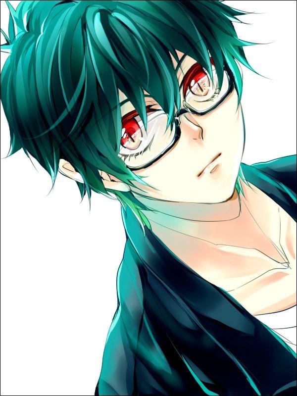 anime boy with green hair