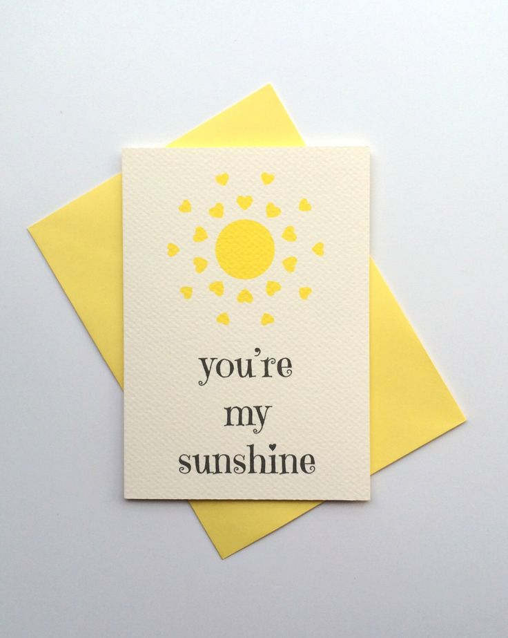 you're my sunshine - love card i love you card anniversary love card - love card for him for her boyfriend love card girlfriend love card by nicerpaper on Etsy https://www.etsy.com/listing/224017596/youre-my-sunshine-love-card-i-love-you