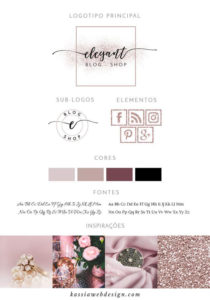 Kit de Identidade Visual Elegant, inspirado no rosé e que conta com logotipo, sublogo, ícones para a web, paleta de cores, duo de fontes e imagens de inspiração