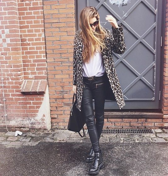 Get this look: http://lb.nu/look/8627991  More looks by Fabia Von Hauff: http://lb.nu/fabiavonhauff  Items in this look:  Topshop Leopard Print Coat, Levi's® White T Shirt, Lumberjack Boots, Acne Studios Leather Pants
