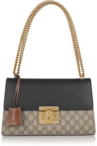 Gucci | Linea C coated canvas and leather shoulder bag | NET-A-PORTER.COM