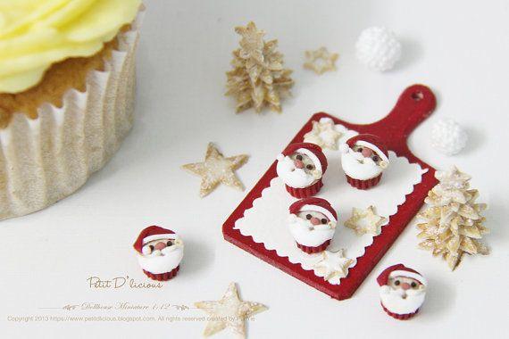 THREE Christmas Santa Cupcakes Dollhouse by PetitDlicious on Etsy, $27.90