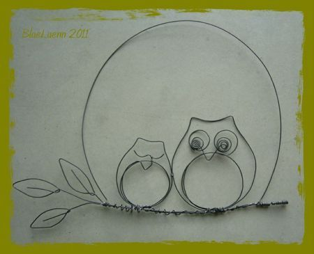 owl wire art. Place on an awesome scrapbook paper for the background.