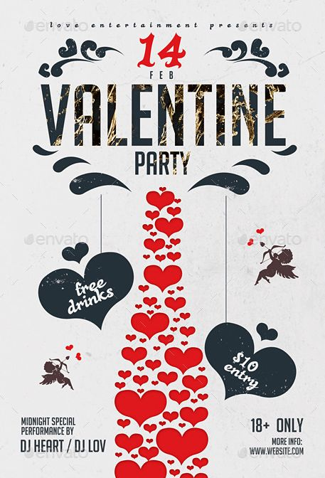Flyer Template with good typography and valentine day graphic elements. http://www.thedesignwall.com/20-best-valentines-day-flyer-templates/