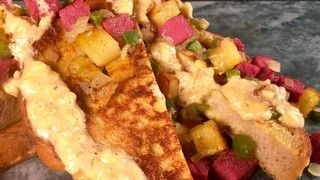 * I would use beef - Savory Rye French Toast with Corned Beef Hash and Cheddar Onion Butter Recipe | The Chew - ABC.com