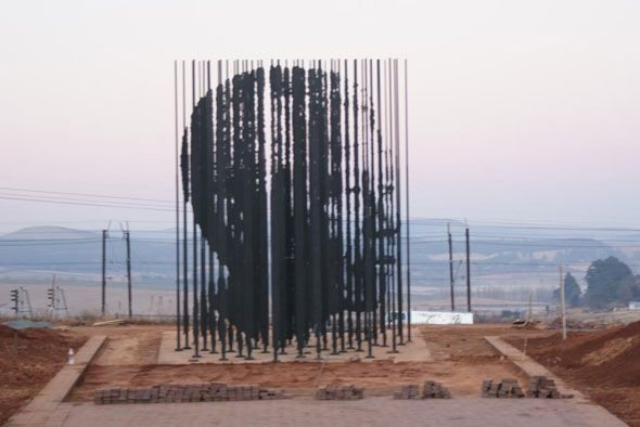 The 50th anniversary of Mandela's arrest on 5 August 1962 will be marked this weekend at the Capture Site, just outside Howick in the Midlands. This massive sculpture by Marco Cianfanelli has been installed in the landscape at the Capture Site. It comprises 50 steel poles between 5 and 10 metres tall which, when looked at from a particular viewpoint, come into focus as a portrait of Nelson Mandela.