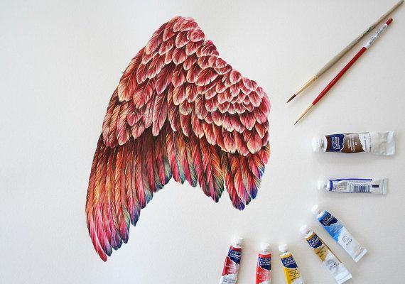 Original watercolor painting of a study of a mythical Phoenix. Beautiful colors and details in the feathers. V  Very cool. As an artist and a mom to two small raucous boys, I try to paint at night after they go to bed. Please check in regularly to see whats new!    Paper size is 14 x 20 and is painted on Aquarelle Arches watercolour paper. 100% cotton 140lb cold pressed Horizontal/Landscape Can be cropped by your framer    Signed in graphite, by me the artist. Enjoy