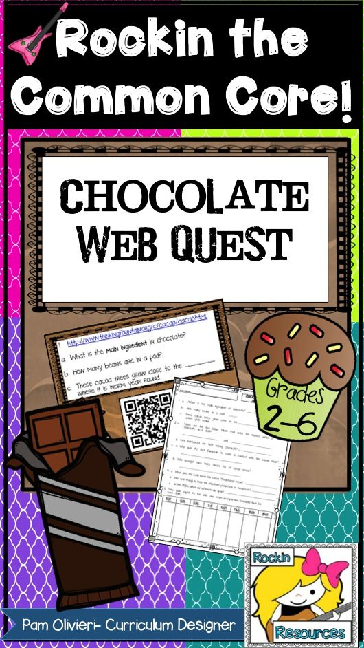 Chocolate Web quest:  A mouth watering activity for chocolate lovers!  This web quest can be used on computers or tablets!  Each question has a link and QR code to web addresses that students can find the information.  A separate pdf is included with a printable for students to write answers.  20+ questions are based around the history of chocolate and how chocolate is made!   Students love it and get a special chocolate treat in the end!  TpT Resource