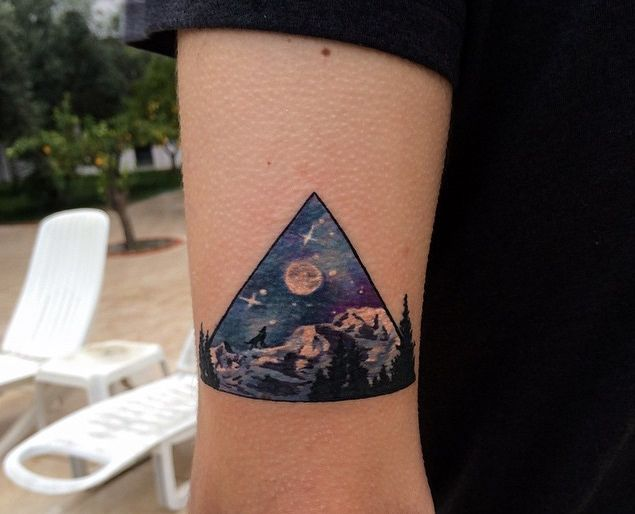 Triangle Landscape Tattoo By Koray Karagozler http://tattoos-ideas.net/triangle-landscape-tattoo-by-koray-karagozler/