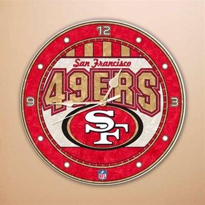 San Francisco Sports >> San Francisco 49ers 12'' Art-Glass Wall Clock | Niner Home Pride | Pinterest | San francisco ...