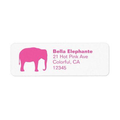 Pink Elephant Silhouette Return Address Labels - return address labels label diy personalize cyo unique design custom