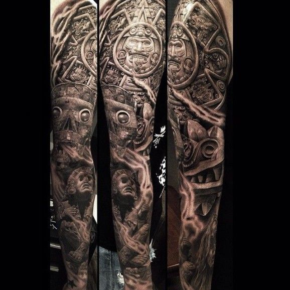 amazing sleeve by greg nicholson ink skin pinterest sleeve full sleeve tattoos and aztec. Black Bedroom Furniture Sets. Home Design Ideas