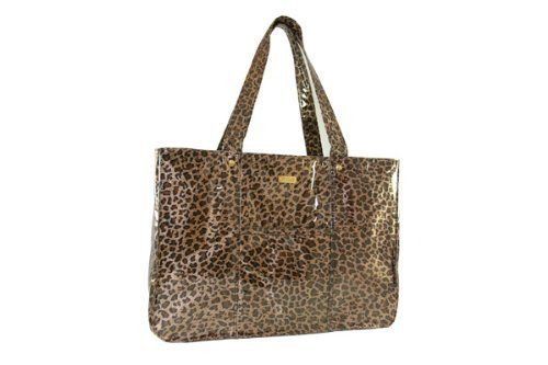 """PurseN Leopard Print Small Luxury Travel Tote by PurseN. $68.00. Zipper top closure with long handles for easy carrying.. 10 separate compartments, making organization easy and fun.. 7 large inside pockets. 1 large zipper compartment. 2 outside pockets.. Metallic Gold/Brown colored leopard print with brown colored lining. Mearsures 15"""" L x 10.5"""" H x 6""""W. The Luxury Travel Tote is designed with 10 separate compartments, making organization easy and fun. The bag is so vers..."""