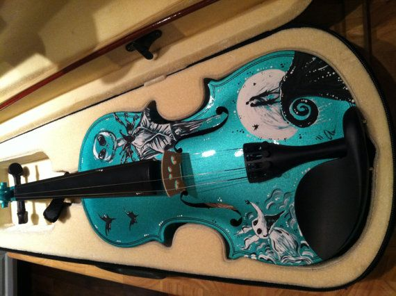 This item may take up to 4 weeks to arrive. Violin must be ordered first (other colors available including blue and purple and natural wood).  This is a hand-painted violin featuring the theme 'Nightmare Before Christmas'. It illustrates the protagonist, Jack Skellington, the famous love scene between Jack and Sally, and Jack's faithful companion, Zero.  The violin is an original Crescent instrument and is in mint condition. This violin is perfect for beginners and intermediate players.