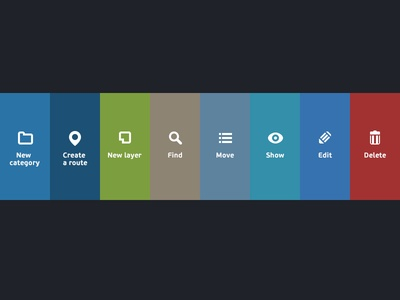 Action icons for admin interface