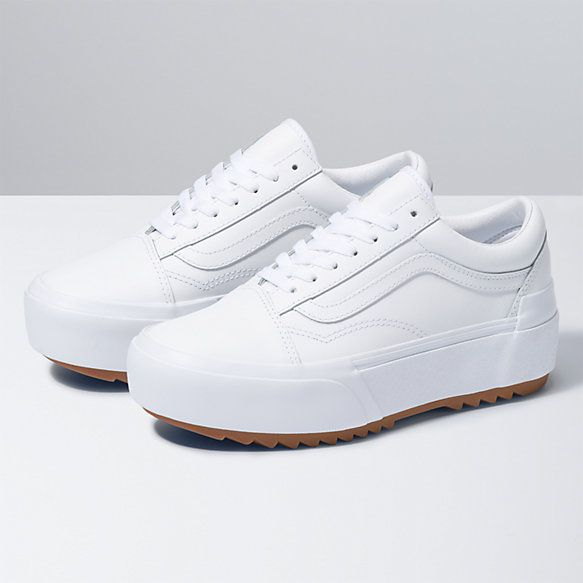 Leather Old Skool Stacked Shop Shoes At Vans White Leather Vans Leather Vans White Leather Sneakers