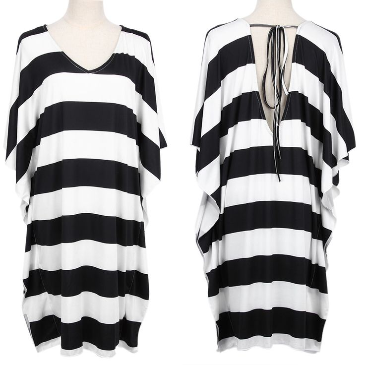 EA14 Big Size V-neck Backless Batwing Sleeve Black-white Stripe Beach Dress Swim Dress Cover-ups