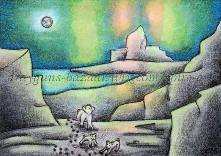 ACEO TW DEC Original Art Moon Aurora Polar Bear Ice Winter Landscape - SMcNeill #Miniature
