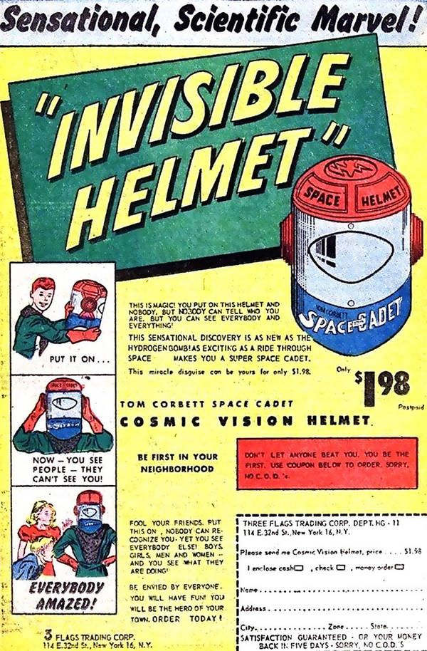 Invisible HelmetHydrogen Bombs, Spaces Oddities, Invi Helmets, Comics Book, Favourite Vintage, Comics Relief, Vintage Ads, Vintage Inspiration, Outer Spaces