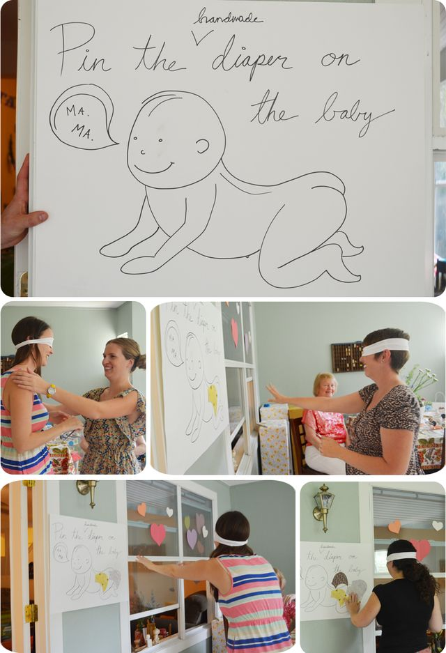 Pin the Handmade Diaper on the Baby | Baby Shower Party Game | via Mary Makes Pretty