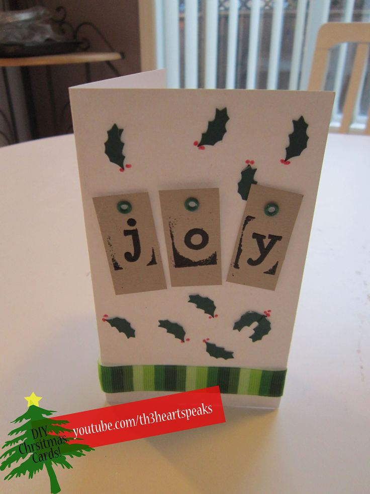 Holly and Jolly Holiday Card. Tutorial found on https://www.youtube.com/watch?v=3gZ6GeYznyE #holiday #diycards #th3heartspeaks #christmas