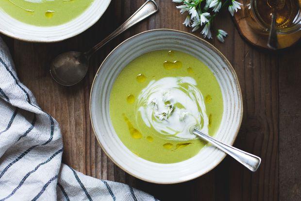 Fava Bean Soup with Lemon Crème Fraîche & Olive Oil / Lucero Blog