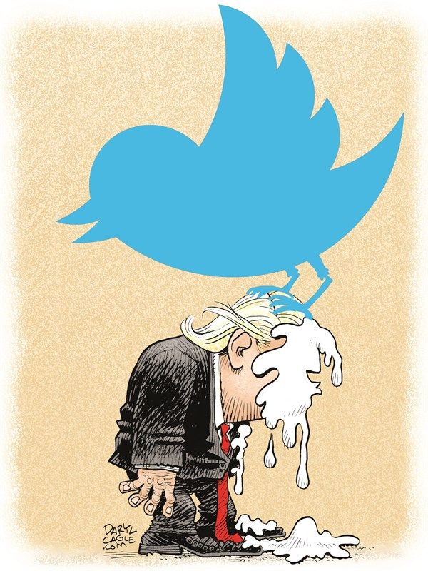 Daryl Cagle - CagleCartoons.com - Trump Twitter Poop - English - Donald Trump,Twitter,social media,phone,cell phone,iphone,android,Obama,wiretaps,white house